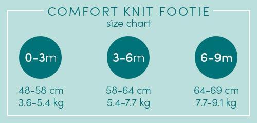 comfort knit footie size chart