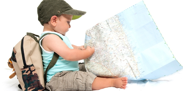 Toddler looking at the map