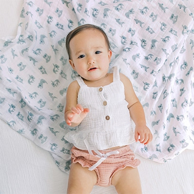 aden + anais baby on the now + zen cotton muslin swaddle