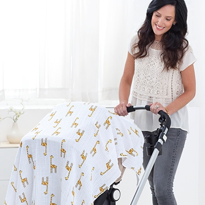 Swaddled used to covered baby stroller